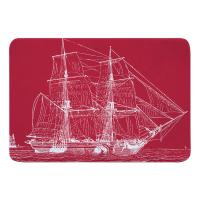 Vintage Ship Memory Foam Bath Mat - White on Red