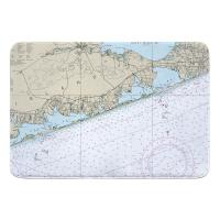 NY: Moriches Bay to Shinnecock Bay, NY Nautical Chart Memory Foam Bath Mat