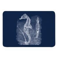 Vintage Seahorse Memory Foam Bath Mat - White on Navy