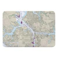 VA: Norfolk, Portsmouth, VA Nautical Chart Memory Foam Bath Mat
