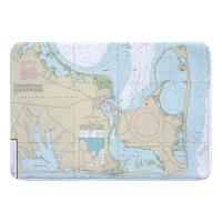 MA: Edgartown, Chappaquiddick Island, MA Nautical Chart Memory Foam Bath Mat