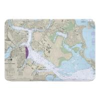 MA: Boston, MA Nautical Chart Memory Foam Bath Mat