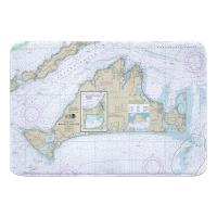 MA: Martha's Vineyard, MA Nautical Chart Memory Foam Bath Mat