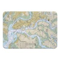 SC: Charleston Harbor, SC Nautical Chart Memory Foam Bath Mat