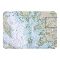 MD-VA: Chesapeake Bay, MD-VA Nautical Chart Memory Foam Bath Mat