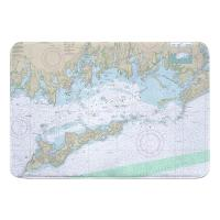 CT-NY: Fishers Island Sound, CT-NY Nautical Chart Memory Foam Bath Mat