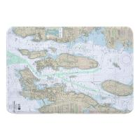 RI: Narragansett Bay, RI Nautical Chart Memory Foam Bath Mat