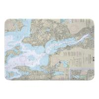RI: Providence River, RI Nautical Chart Memory Foam Bath Mat