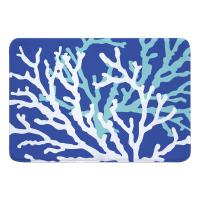 Coral Duo on Cobalt Memory Foam Bath Mat