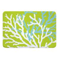 Coral Duo on Lime Memory Foam Bath Mat