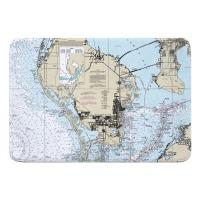 FL: St. Petersburg, FL Nautical Chart Memory Foam Bath Mat