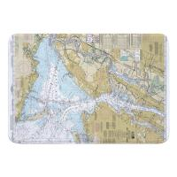 NY: New York Harbor, NY Nautical Chart Memory Foam Bath Mat