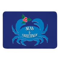 Seas & Greetings Crab Christmas Memory Foam Bath Mat - Dark Blue