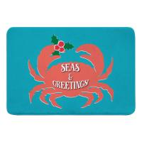 Seas & Greetings Crab Christmas Memory Foam Bath Mat - Light Turquoise, Coral