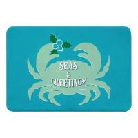 Seas & Greetings Crab Christmas Memory Foam Bath Mat - Light Turquoise, Mint