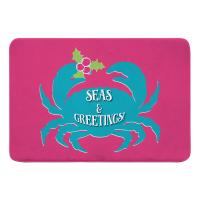 Seas & Greetings Crab Christmas Memory Foam Bath Mat - Pink, Light Turquoise