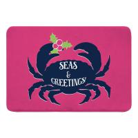 Seas & Greetings Crab Christmas Memory Foam Bath Mat - Pink, Navy