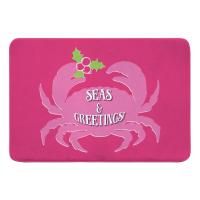 Seas & Greetings Crab Christmas Memory Foam Bath Mat - Pink