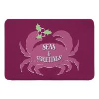 Seas & Greetings Crab Christmas Memory Foam Bath Mat - Plum