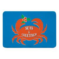 Seas & Greetings Crab Christmas Memory Foam Bath Mat - Blue, Orange