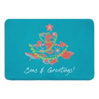 Sea Life Christmas Tree Memory Foam Bath Mat -  Coral on Light Turquoise