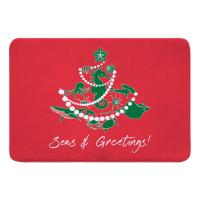 Sea Life Christmas Tree Memory Foam Bath Mat - Green on Red