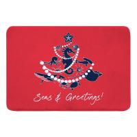 Sea Life Christmas Tree Memory Foam Bath Mat - Navy on Red