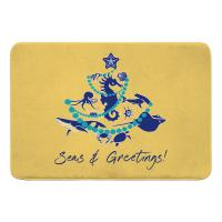 Sea Life Christmas Tree Memory Foam Bath Mat - Navy on Yellow