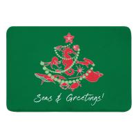 Sea Life Christmas Tree Memory Foam Bath Mat - Red on Green