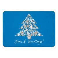 Seashell Christmas Tree Memory Foam Bath Mat - Blue