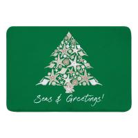 Seashell Christmas Tree Memory Foam Bath Mat - Green