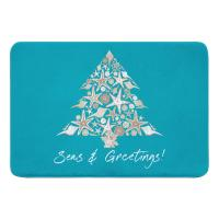 Seashell Christmas Tree Memory Foam Bath Mat - Light Turquoise
