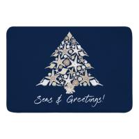 Seashell Christmas Tree Memory Foam Bath Mat - Navy