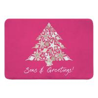 Seashell Christmas Tree Memory Foam Bath Mat - Pink