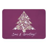 Seashell Christmas Tree Memory Foam Bath Mat - Plum