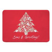 Seashell Christmas Tree Memory Foam Bath Mat - Red