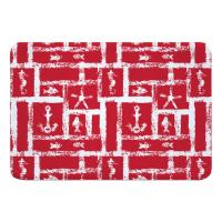 Ocean Squares Red Memory Foam Bath Mat