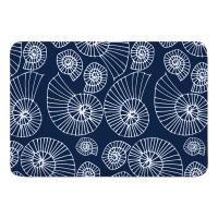 Nautilus Outline Navy Memory Foam Bath Mat