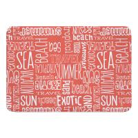 Beach Vacation Words Coral Memory Foam Bath Mat