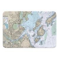 ME: Portland, ME Nautical Chart Memory Foam Bath Mat