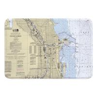 IL: Chicago, IL Nautical Chart Memory Foam Bath Mat