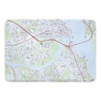 NC: New Bern, NC (2019) Topo Map Memory Foam Bath Mat