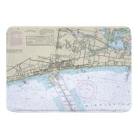 MS: Gulfport, MS Nautical Chart Memory Foam Bath Mat