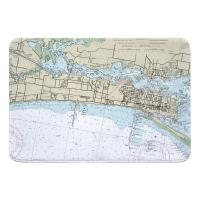 MS: Biloxi, MS Nautical Chart Memory Foam Bath Mat