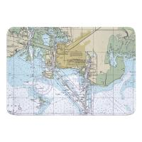 MS: Pascagoula, MS Nautical Chart Memory Foam Bath Mat