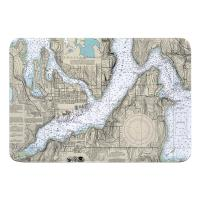 WA: Bremerton, WA Nautical Chart Memory Foam Bath Mat