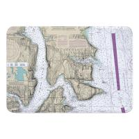 WA: Bainbridge Island, WA Nautical Chart Memory Foam Bath Mat