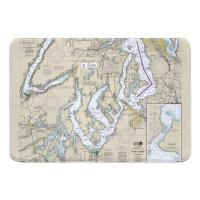 WA: Puget Sound SOUTHERN, WA Nautical Chart Memory Foam Bath Mat