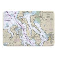 WA: Puget Sound NORTHERN, WA Nautical Chart Memory Foam Bath Mat