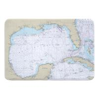Gulf of Mexico Nautical Chart Memory Foam Bath Mat
